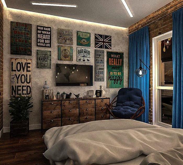 Атмосферная спальня в стиле лофт.