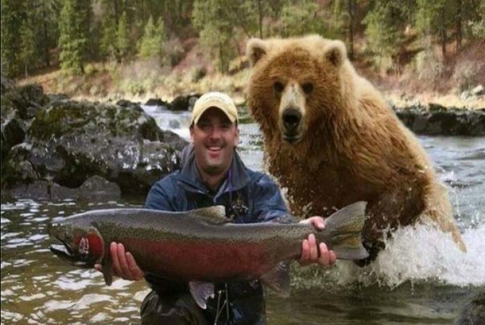 «Человек поймал рыбку, медведь поймал человека - все по-честному!» | Фото: LiveInternet.