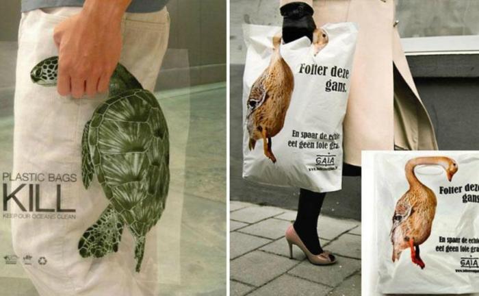 Пакеты от благотворительного фонда Gaia с изображениями животных, которые страдают от полиэтиленового мусора.