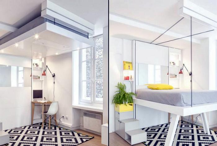 Кровать с подъемным механизмом. | Фото: Pinterest.
