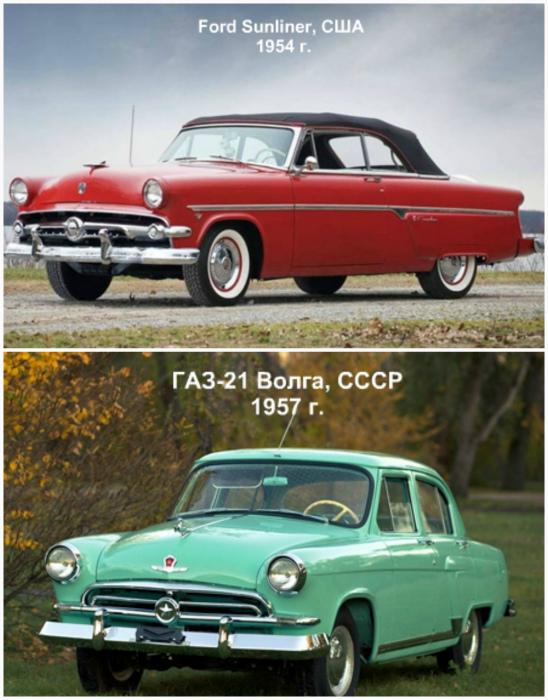 Ford Sunliner, США, 1954 года и ГАЗ-21 «Волга», СССР, 1957 года.