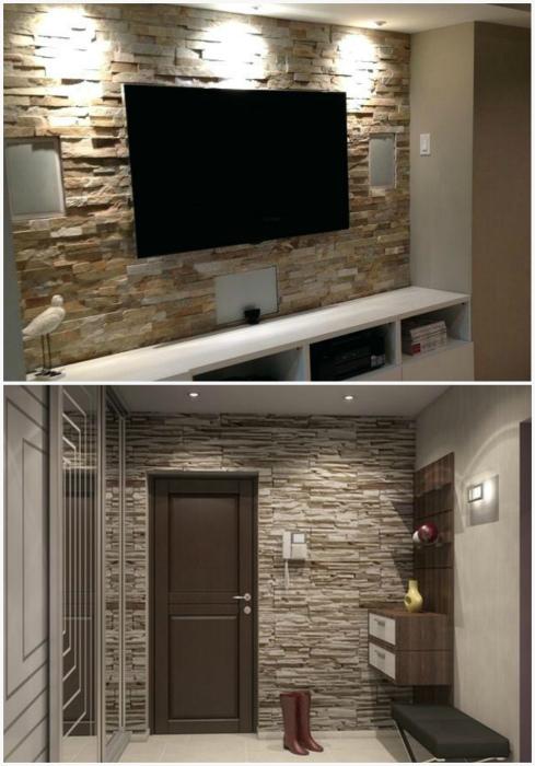Стена с имитацией каменной кладки.