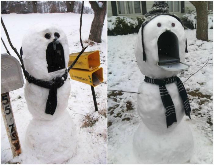 Возмущенный снеговик-почтовый ящик.