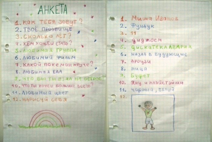 Тетрадь с анкетой, которая была у каждого ребенка.