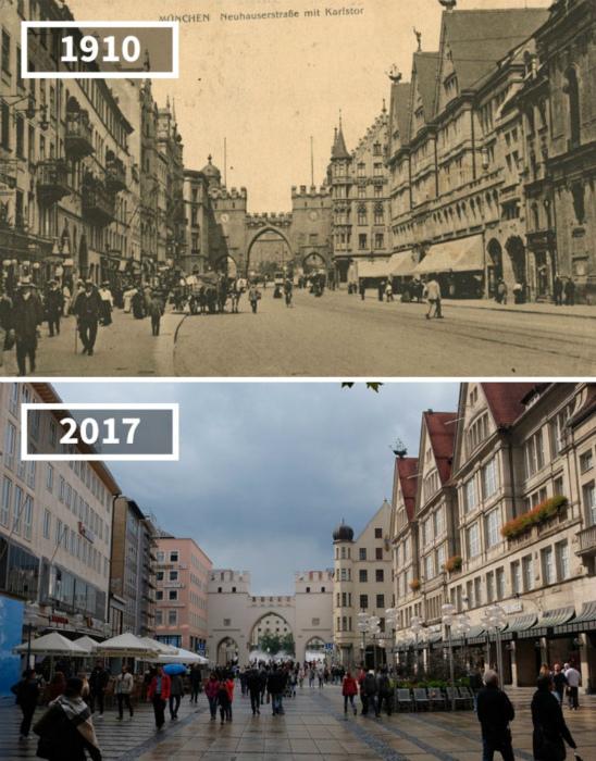 Мюнхен в 1910 и сейчас.