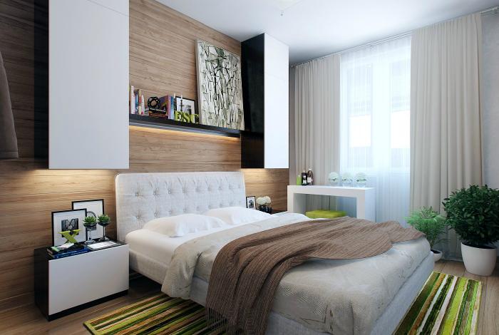 Стильная спальня с элементами скандинавского стиля.