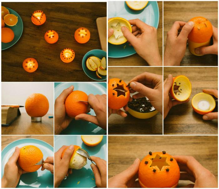 Подсвечник из апельсиновой кожуры.