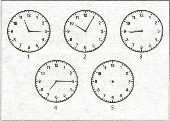 Какое время должны показывать часы под номером 5, чтобы продолжить определенную последовательность.