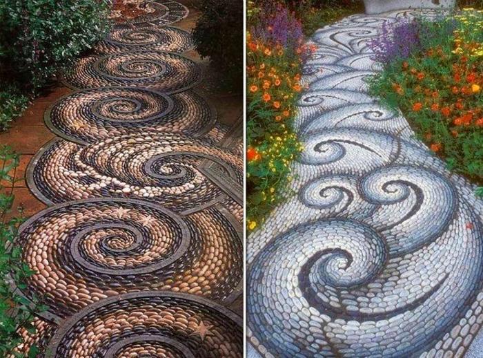Дорожка с мозаикой из гальки.