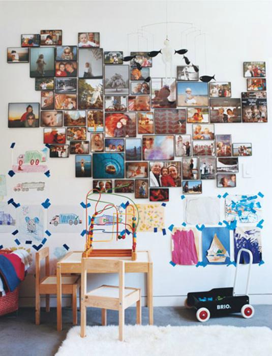 Замысловатые фигуры на стене из ярких фотографий.