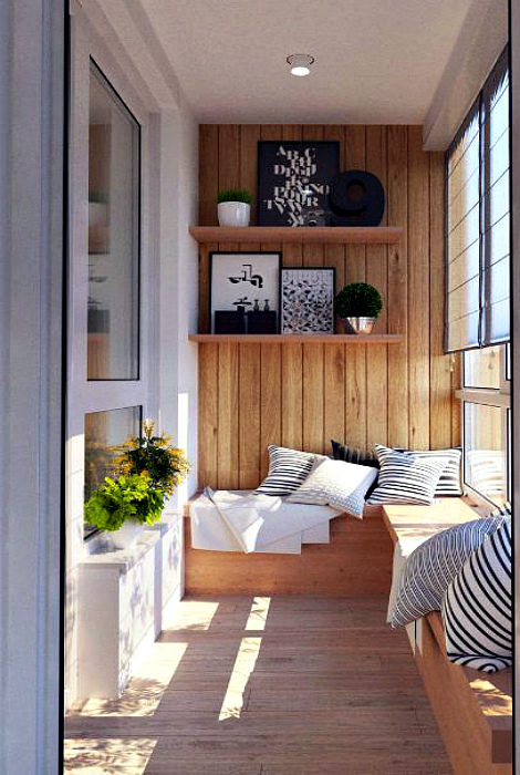 Уютный балкон с панорамными окнами. | Фото: Abitant.