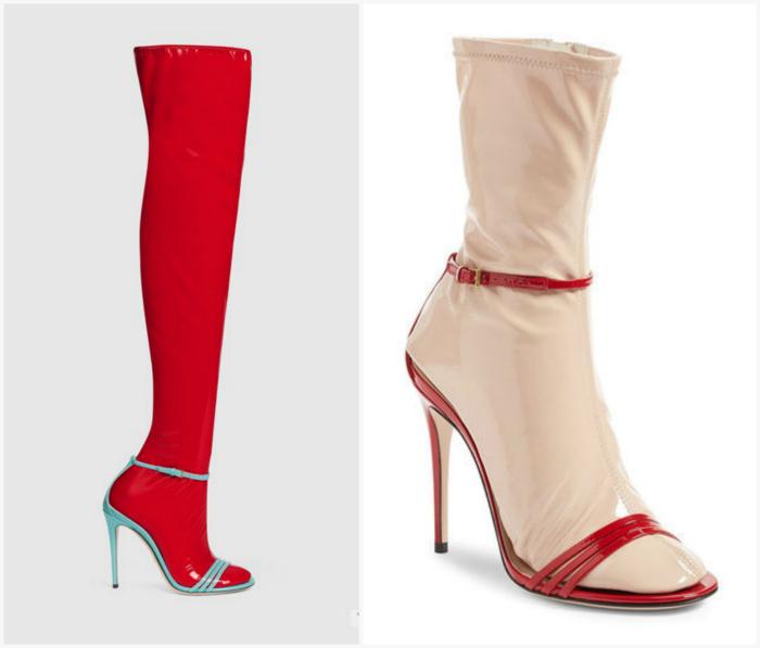 Босоножки с контрастными латексными носками.