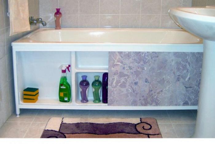 Система хранения под ванной.
