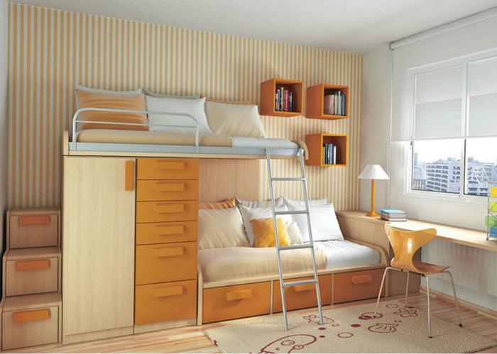 Стильная двухэтажная кровать со шкафами и шкафчиками.