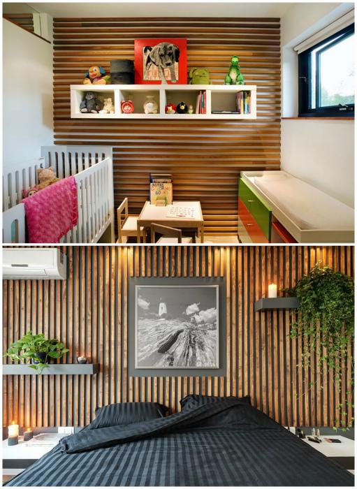 Декор стены деревянными рейками.