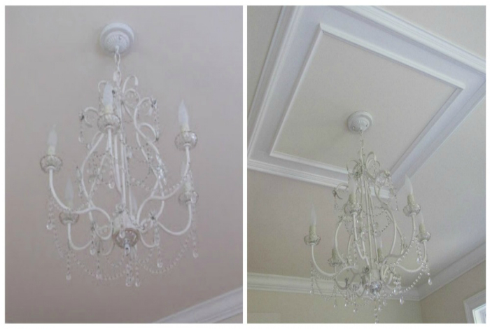 С помощью декоративных молдингов и багетов можно освежить простой дизайн потолка.