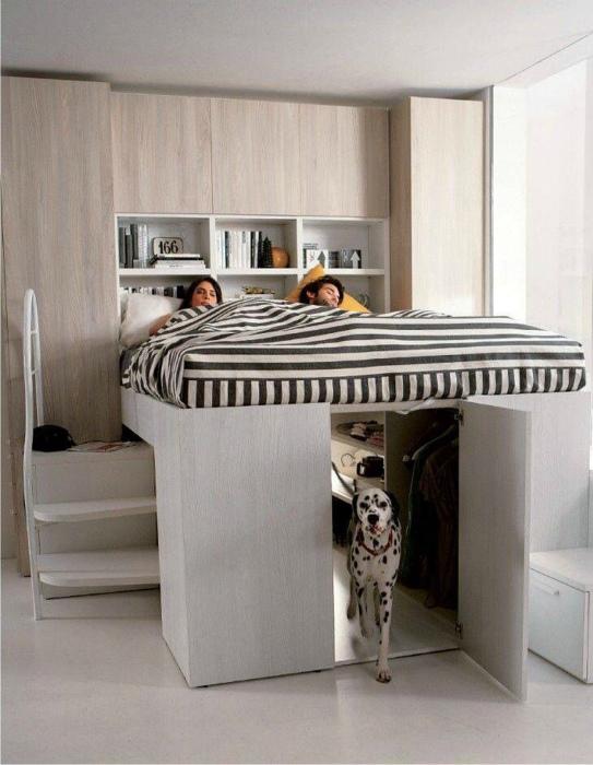 Кровать-чердак с местом для питомца.