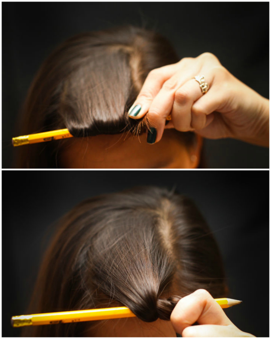 Локоны с помощью карандаша.