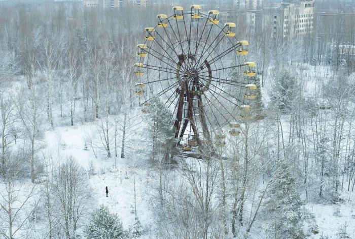 Знаменитое колесо обозрения в Припяти, которое  так и не было запущено.