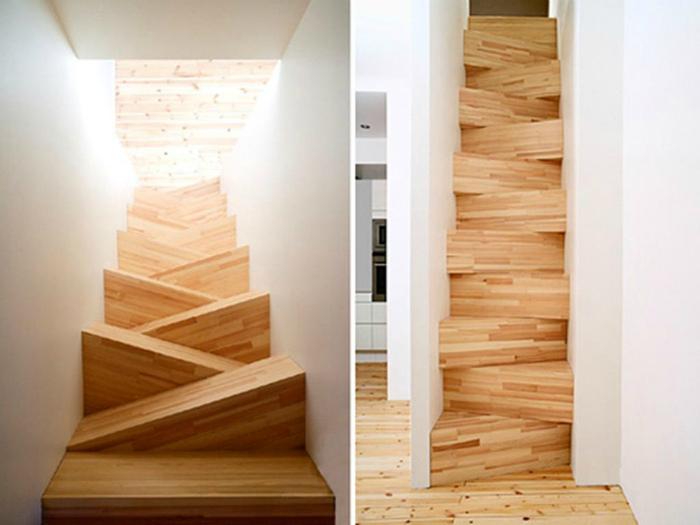 Лестница с асимметричными ступеньками.