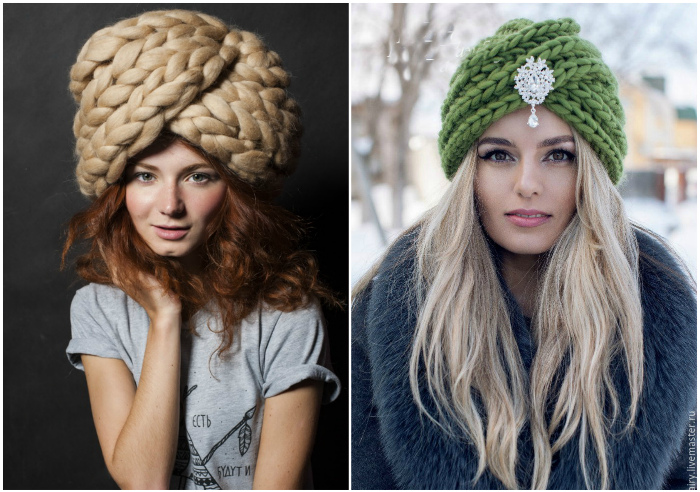 Объемная шапка-чалма.