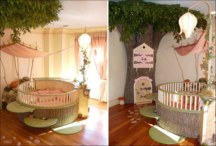 Детская с деревом и круглой кроватью.