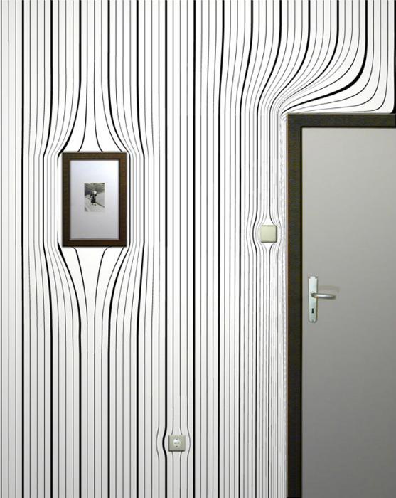 Дизайн прихожей с необычными эффектами на стенах.