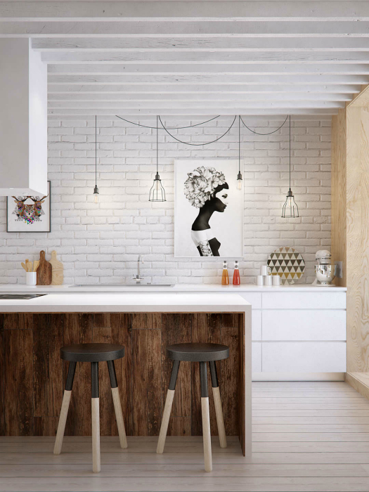 Современная кухня в скандинавском стиле.