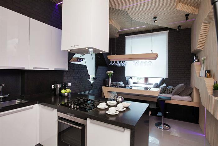 Сложные геометрические формы в интерьере кухни.