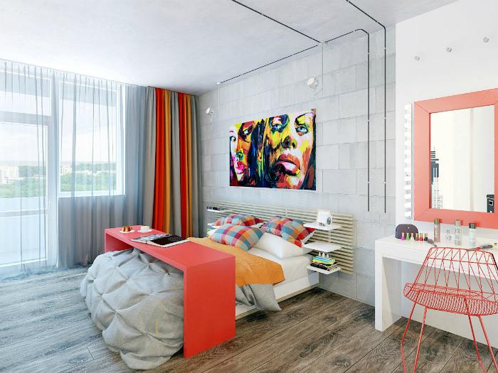 Жизнерадостная спальня в стиле минимализм.