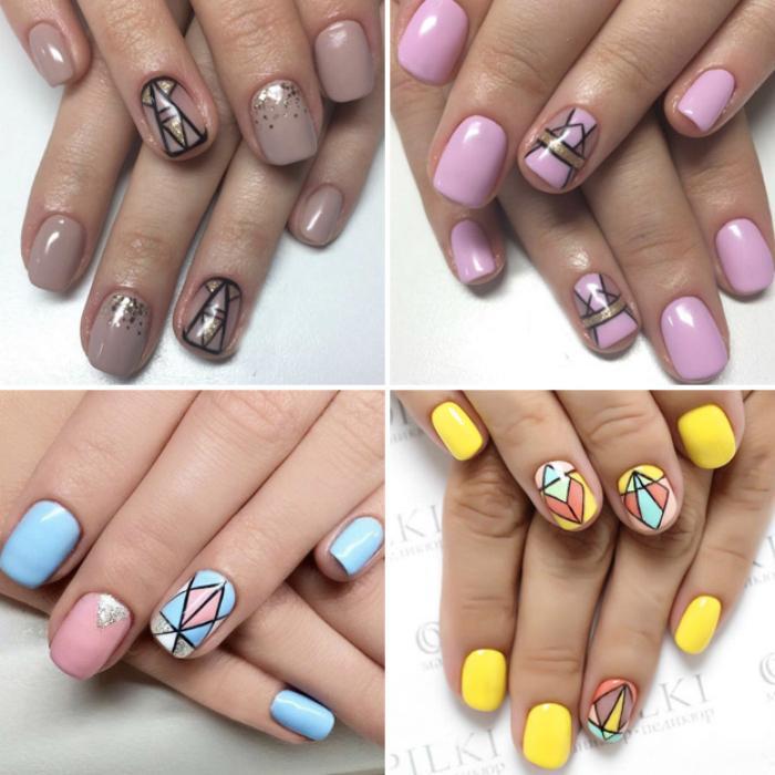 Графические узоры на ногтях.