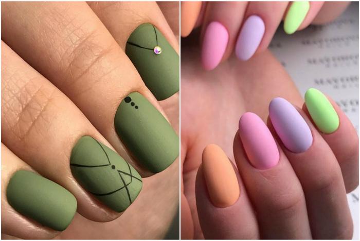 Матовые покрытия ногтей.