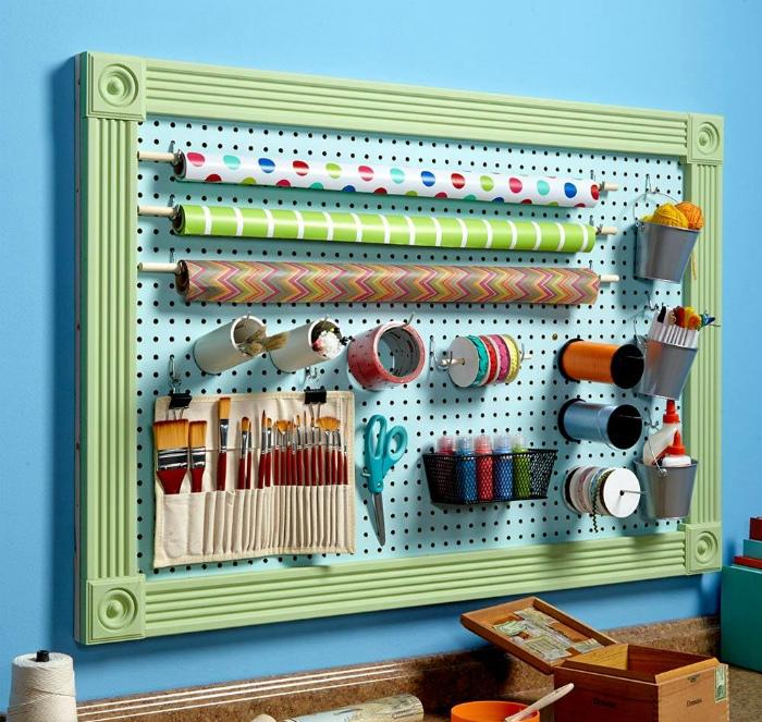 Доска пегборд для хранения материалов для творчества.