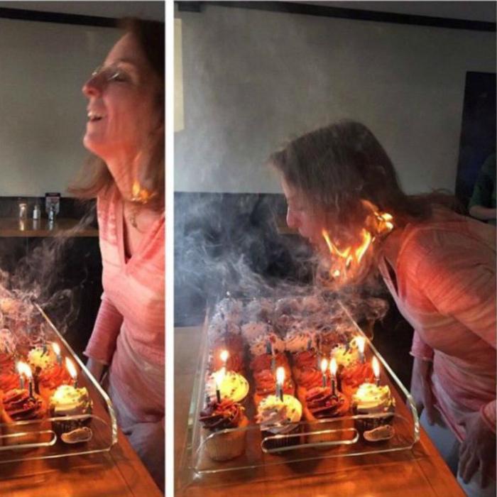 Зажгла в свой день рождения.