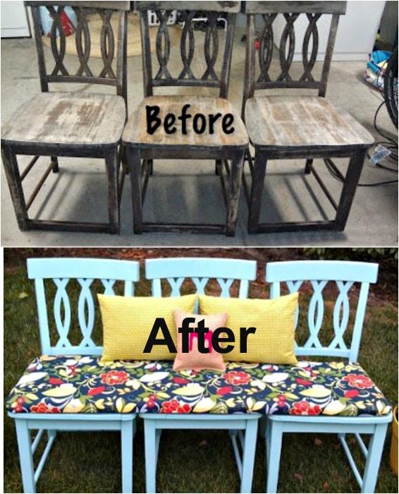 Яркая скамья из старых стульев.