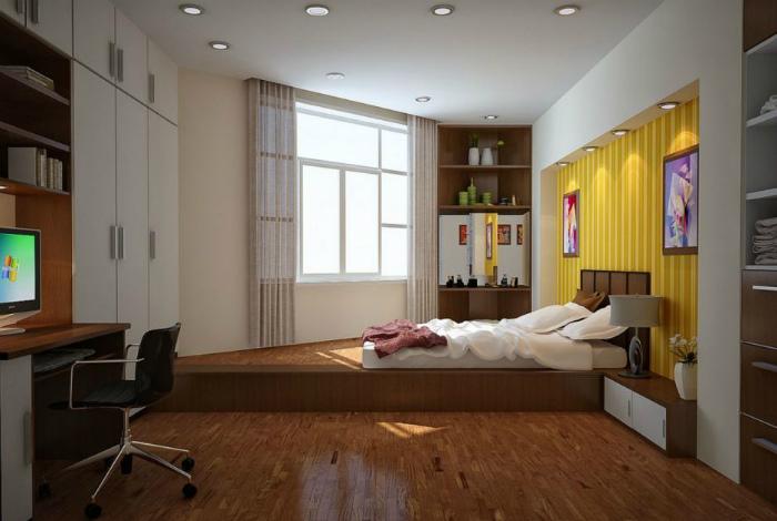 Спальная зона в нестандартной однушке.