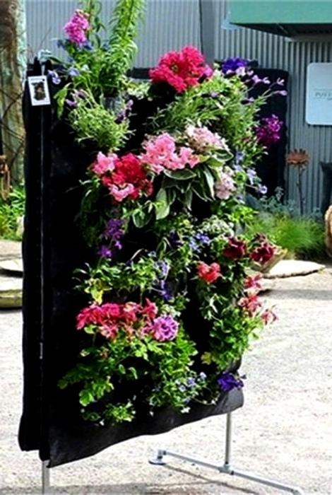Вертикальная клумба из органайзера. | Фото: Pinterest.