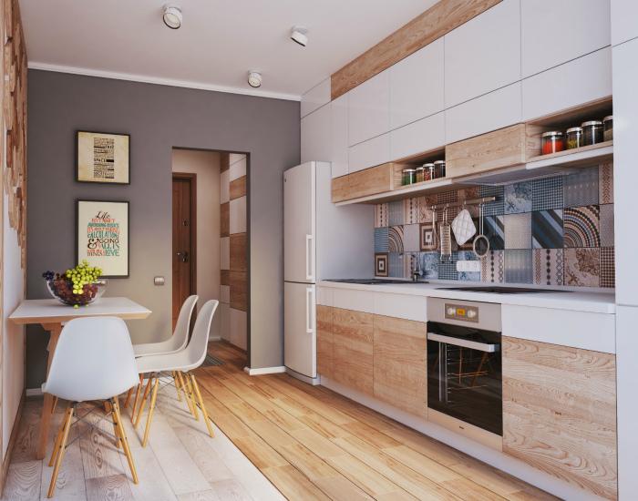 Современная кухня с обилием деревянных деталей.