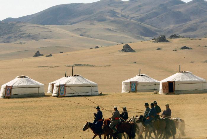 Монголия - глухая степь на карте мира.
