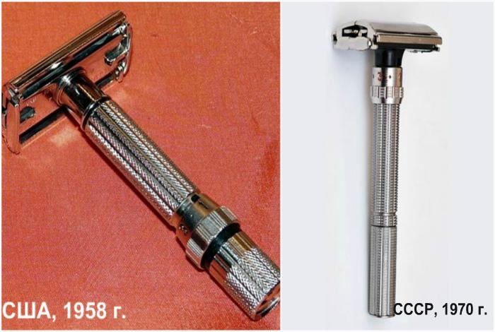 Gillette D4, США, 1958 года и станок Идеал, СССР, 1970-ых годов.