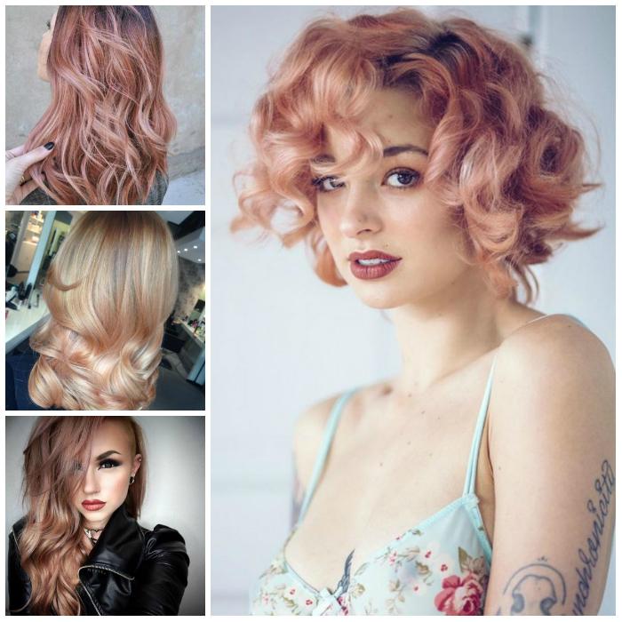 Светлые волосы с розовым отливом.