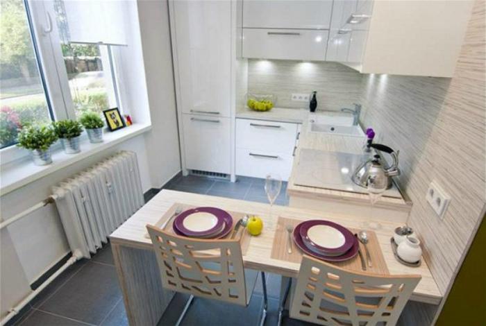 Грамотная планировка небольшой кухни.