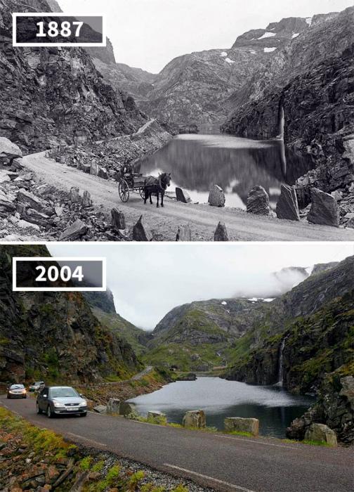Коммунна Одда, Норвегия, 1887 и 2004.