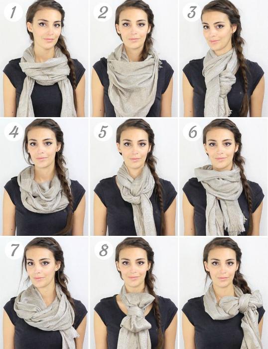 Восемь способов ношения шарфа.