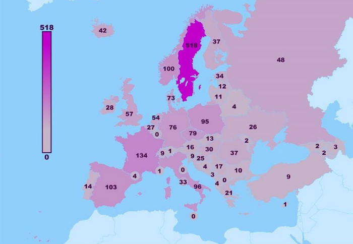 Карта, демонстрирующая количество привлекательных людей в странах Европы.