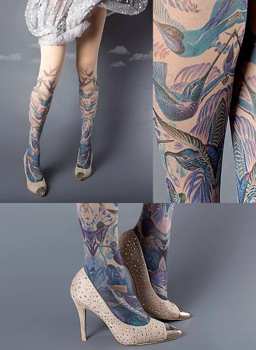 Колготки с татуировками.