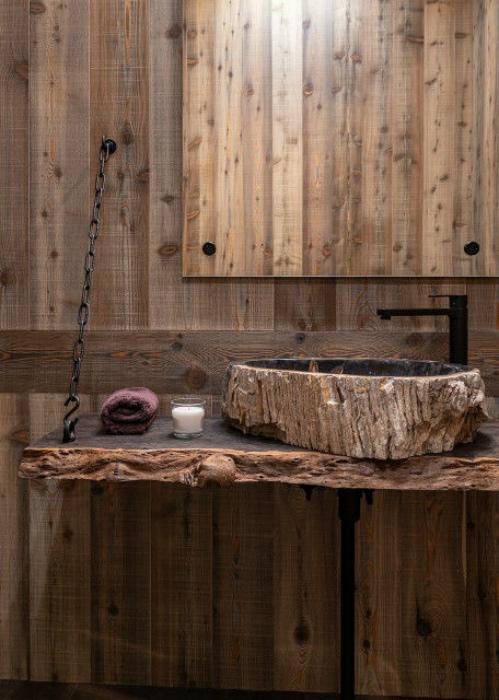 Подвесная столешница из натурального дерева. | Фото: arewawap.