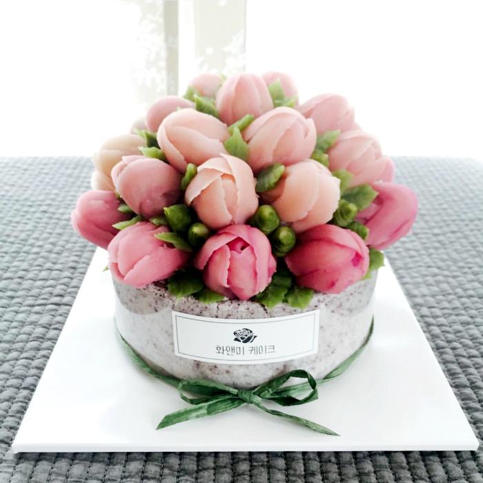 Тортик в виде букета тюльпанов.