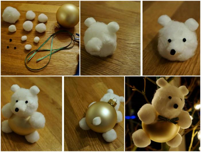 Елочная игрушка в виде мишки.