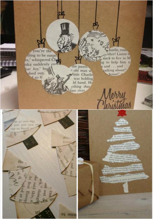 Стильные открытки с вырезками из старых газет.